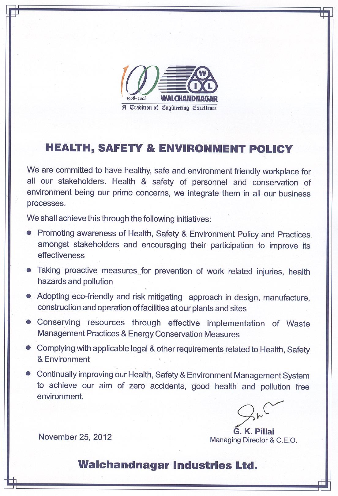 Hse Health And Safety Policy Template Walchandnagar Industries